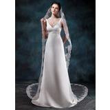 Uma camada Catedral véus de noivas com Borda com aplicação de renda (006020562)