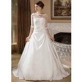Ball-Gown Strapless Court Train Satin Wedding Dress With Ruffle (002004756)