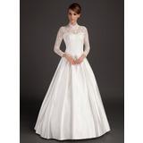 Трапеция/Принцесса Со стойкой Длина до пола Атлас Свадебные Платье (002015488)