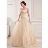 Платье для Балла V-образный Церковный шлейф Тюль Свадебные Платье с кружева Бисер (002012825)