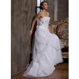 Трапеция/Принцесса Без лямок Церемониальный шлейф Атлас Органза Свадебные Платье с Рябь Цветы (002014927)