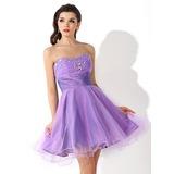 Vestidos princesa/ Formato A Coração Curto/Mini Tule Vestido de boas vindas com Pregueado Bordado (022021049)