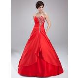 Duchesse-Linie Herzausschnitt Bodenlang Taft Quinceañera Kleid (Kleid für die Geburtstagsfeier) mit Rüschen Perlen verziert (021004571)