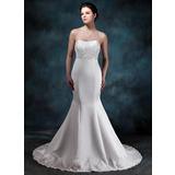 Trompete/Sereia Coração Cauda de sereia Cetim Vestido de noiva com Pregueado Bordado Apliques de Renda (002001161)