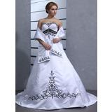 Платье для Балла В виде сердца Церковный шлейф Атлас Свадебные Платье (002001949)