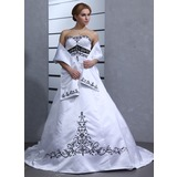 Ball-Gown Sweetheart Chapel Train Satin Wedding Dress (002001949)