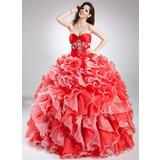 De baile Coração Longos Organza de Vestido quinceanera com Bordado Babados em cascata (021015811)