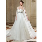 Empire Sweetheart Chapel Train Tulle Wedding Dress With Beading (002011607)