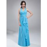 Vestidos princesa/ Formato A Cabresto Longos De chiffon Vestido de madrinha com Babados em cascata (007018775)