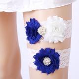 2-Piece/Sexy Lace With Flower/Rhinestone Wedding Garters (104209497)