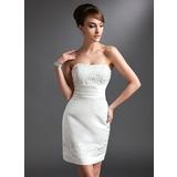 Tubo Coração Curto/Mini Cetim Vestido para a mãe da noiva com Renda Bordado (008016380)
