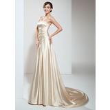 Трапеция/Принцесса Без лямок Церемониальный шлейф Шармёз Свадебные Платье с Рябь Бисер (002011708)