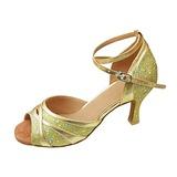 Женщины кожа Мерцающая отделка На каблуках Сандалии Латино с Ремешок на щиколотке Обувь для танцев (053013309)