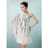 Sheath/Column One-Shoulder Knee-Length Chiffon Cocktail Dress With Beading Sequins (016008331)