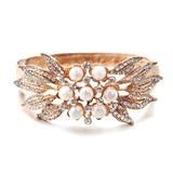Magnífico Pérola/Banhado a ouro Senhoras Pulseiras (011057868)