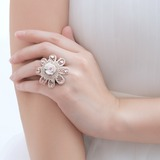 Flower Shaped Ceramic/Copper/Lace With Rhinestone Ladies' Rings (011057860)