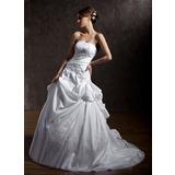 De baile Sem Alças Cauda longa Tafetá Vestido de noiva com Pregueado Renda Bordado Lantejoulas (002011405)