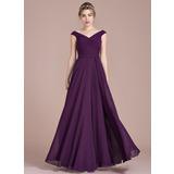 Vestidos princesa/ Formato A Off-the-ombro Longos Tecido de seda Vestido de madrinha com Pregueado (007104732)