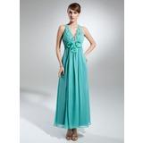 A-Line/Princess V-neck Ankle-Length Chiffon Holiday Dress With Ruffle Beading Flower(s) (020015328)