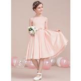 A-Line/Princess Square Neckline Knee-Length Satin Junior Bridesmaid Dress With Bow(s) (009106847)