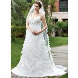 С завышенной талией V-образный Церковный шлейф Атлас Органза Свадебные Платье с Бисер Цветы Ниспадающие оборки (002000620)