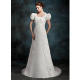 Трапеция/Принцесса Без лямок Церемониальный шлейф Атлас Свадебные Платье (002000218)