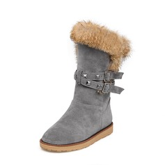 Женщины Замша Плоский каблук Ботинки Сапоги до середины голени Зимние сапоги с заклепки пряжка мех обувь (088140232)