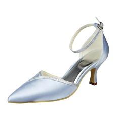 Женщины Атлас Низкий каблук Закрытый мыс На каблуках с пряжка (047062089)