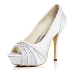 Женщины Атлас Высокий тонкий каблук Открытый мыс Платформа На каблуках Сандалии (047052677)