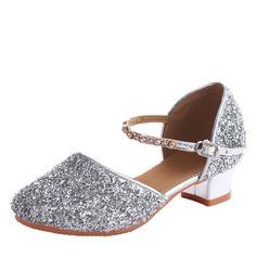 Детская обувь кожа Мерцающая отделка На каблуках Бальные танцы качать Обувь для танцев (053106459)