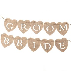 Bride and Groom Linen Photo Booth Props/Banner (10 Pieces) (131143932)