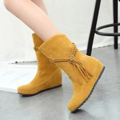 Kvinner Semsket Flat Hæl Flate sko Lukket Tå Støvler Mid Leggen Støvler med Flettet Stropp sko (088126574)