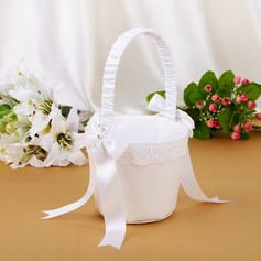 Elegant Flower Basket With Bow/Faux Pearl (102039777)