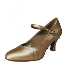 Women's Satin Heels Ballroom With Buckle Dance Shoes (053146264)