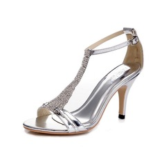Lackskinn Stilettklack Sandaler Pumps med Strass Spänne skor (087055839)