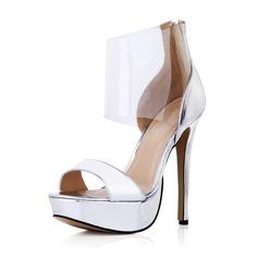 Leatherette Plastics Stiletto Heel Sandals Pumps Platform Peep Toe With Zipper shoes (087042734)