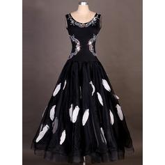 Женщины Одежда для танцев Спандекс Органза Латино Платья (115091481)