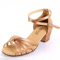 Niños Satén Sandalias Planos Danza latina con Tira de tobillo Zapatos de danza (053025578)