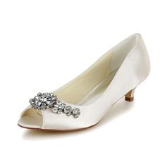 Naisten Satiini Cone heel Avokärkiset korkokengät Sandaalit jossa Tekojalokivi (047048524)