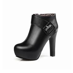 Mulheres Couro Salto agulha Plataforma Bota no tornozelo com Fivela Zíper sapatos (088097367)