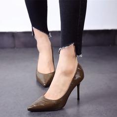 Женщины кожа Высокий тонкий каблук На каблуках Закрытый мыс обувь (085111608)
