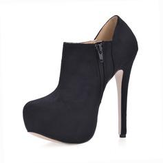 Женщины Замша Высокий тонкий каблук Платформа Закрытый мыс Полусапоги обувь (088017129)