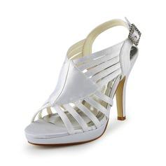 Mulher Cetim Salto cone Plataforma Sandálias com Fivela Imitação de Diamantes (047024517)