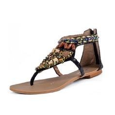 кожа Плоский каблук Сандалии с горный хрусталь обувь (087063161)