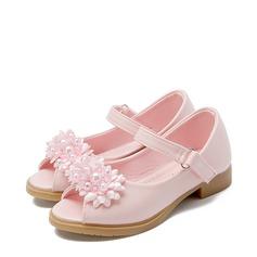 Jentas Titte Tå Leather flat Heel Sandaler Flate sko Flower Girl Shoes med Profilering Sateng Sløyfe Velcro Blomst (207122028)