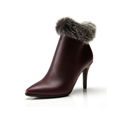 Real Leather Stiletto Heel Ankle Boots With Fur shoes (088057369)