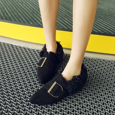 Women's Suede Flat Heel Flats Closed Toe With Buckle shoes (086145721)