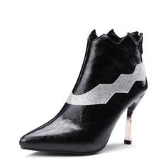 Mulheres PU Salto agulha Bombas Bota no tornozelo com Divisão separada sapatos (088143702)