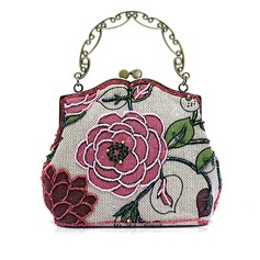 Charmen Tyg med Pärlbrodering/Blomtryck mode handväskor (012048445)