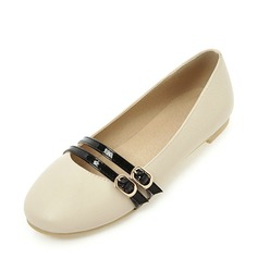 Женщины PVC Плоский каблук На плокой подошве Закрытый мыс с пряжка Шнуровка обувь (086153760)